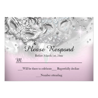 Pink Silver Sparkle Masquerade RSVP Reply Invite