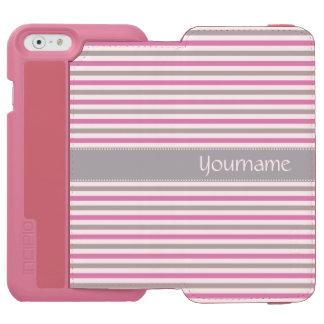 Pink & Silver Stripes custom wallet cases Incipio Watson™ iPhone 6 Wallet Case
