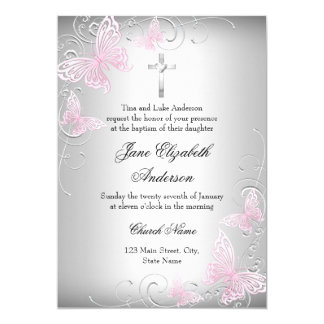 Pink Silver Swirl Butterfly Cross Baptism Invite