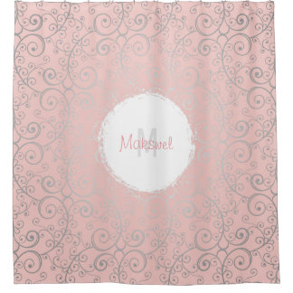 Pink Silver Swirled Glamorous Shower Curtain