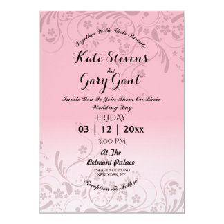Pink Simple floral pattern Wedding Invitation