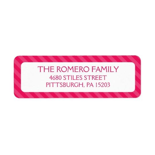 Pink Simple Stripes Custom Personalized Return Address Label