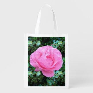 Pink Single Rose Grocery Bag