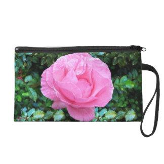 Pink Single Rose Wristlet Purse