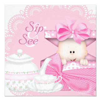 Pink Sip and See Baby Girl Shower Card