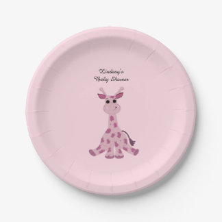 Pink Sitting Giraffe Baby Shower Paper Plate
