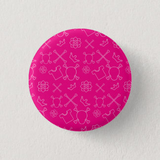 Pink Skull and Bones pattern 1 Inch Round Button