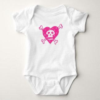 Pink Skull and Crossbones Baby Bodysuit