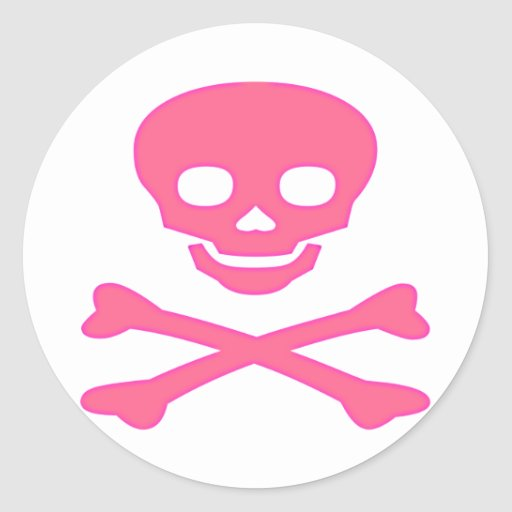 Pink Skull and Crossbones Round Stickers