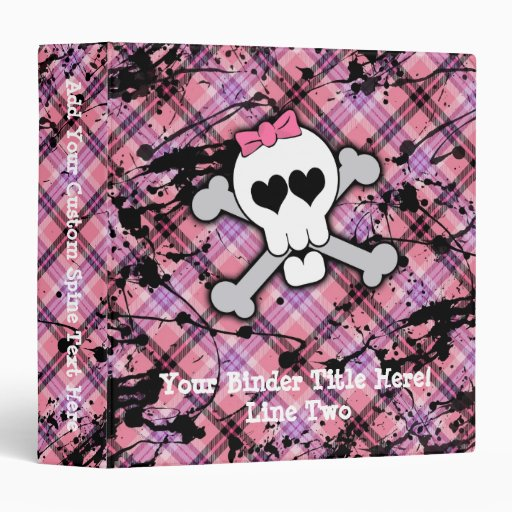 Pink Skull and Crossbones with Hearts and Bow Vinyl Binder