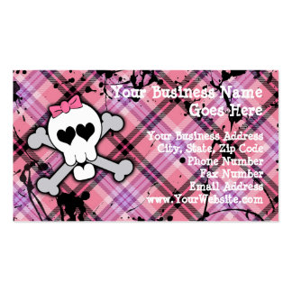 Pink Skull and Crossbones with Hearts and Bow Business Cards