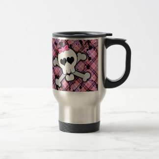 Pink Skull and Crossbones with Hearts and Bow Coffee Mugs