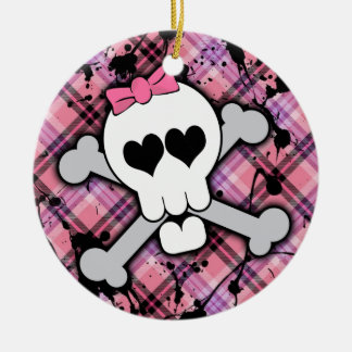 Pink Skull and Crossbones with Hearts and Bow Round Ceramic Ornament