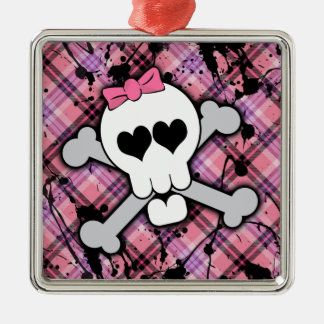 Pink Skull and Crossbones with Hearts and Bow Silver-Colored Square Ornament