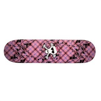 Pink Skull and Crossbones with Hearts and Bow Skateboard