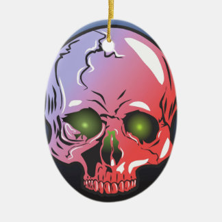 Pink skull ceramic ornament