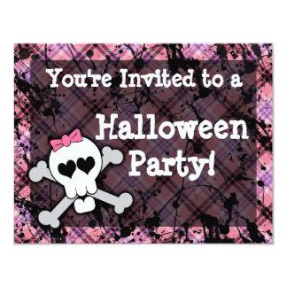 Pink Skull Halloween Party Invitations