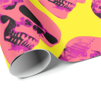 Pink Skull on Yellow Wrapping Paper