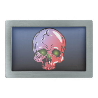Pink skull rectangular belt buckle