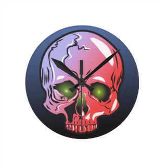 Pink skull round clock