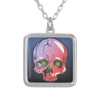 Pink skull silver plated necklace