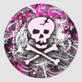 Pink Skull Splatter Stickers