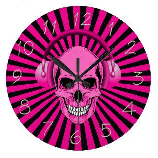 Pink Skull with Headphones Clock