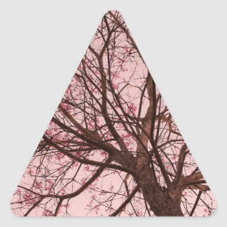 Pink Sky and Tree Branches Triangle Sticker