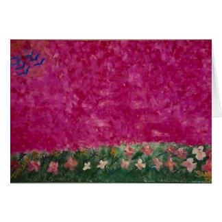 pink sky blank greeting card