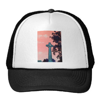 Pink Sky Celtic Cross Trucker Hats