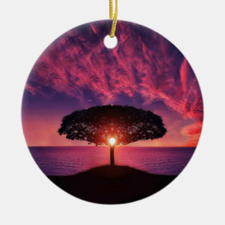 Pink sky ceramic ornament