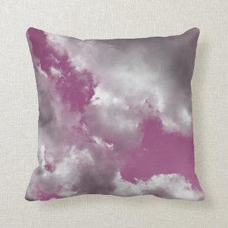 Pink Sky Clouds Throw Pillow