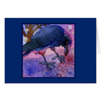 Pink Sky Crow Notecard