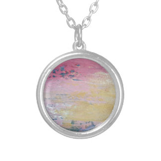 Pink Sky Delight Round Pendant Necklace