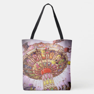 Pink sky retro vintage carnival swing ride photo tote bag