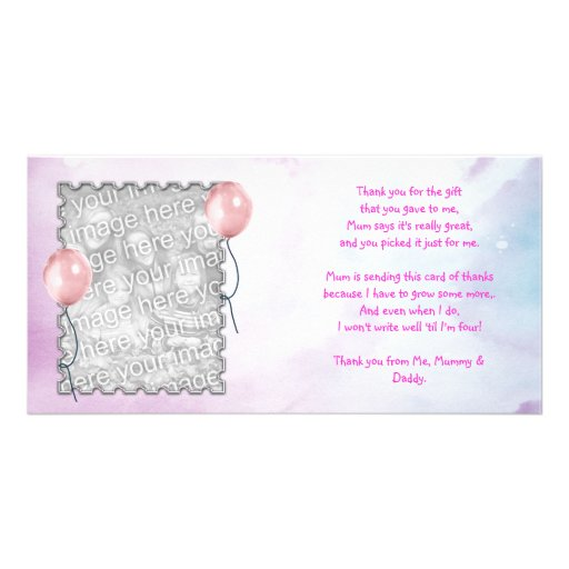 Pink sky Thank You Card from baby girl Picture Card