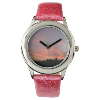 Pink sky wristwatch