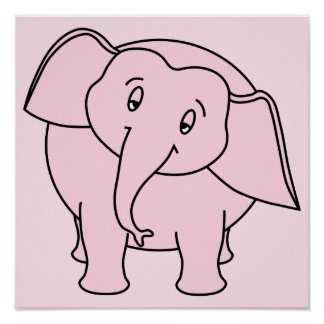 Pink Sleepy Elephant. Cartoon. Poster