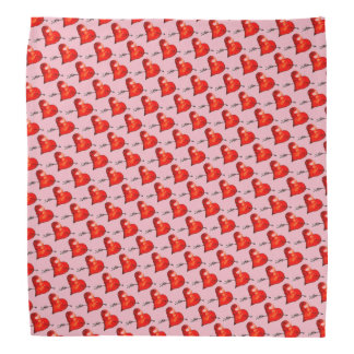 Pink Small Hearts Patterned Bandana