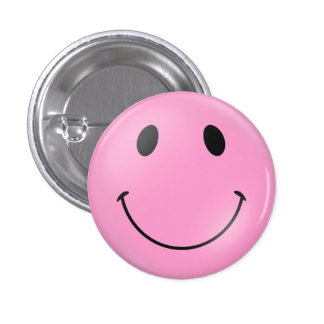 Pink Smiley Face 1 Inch Round Button