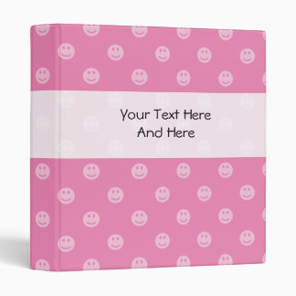 Pink smiley face binder for teen school girls