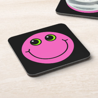 Pink Smiley Face Drink Coaster