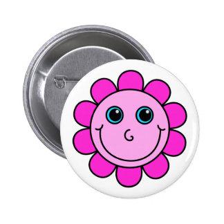 Pink Smiley Face Flower 2 Inch Round Button