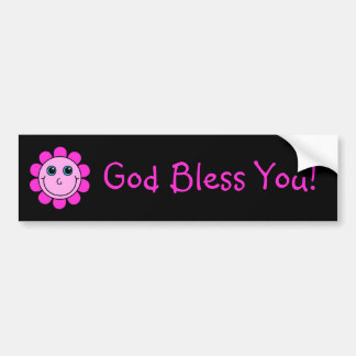 Pink Smiley Face Flower God Bless You Bumper Sticker