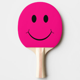 Pink Smiley Face Ping-Pong Paddle