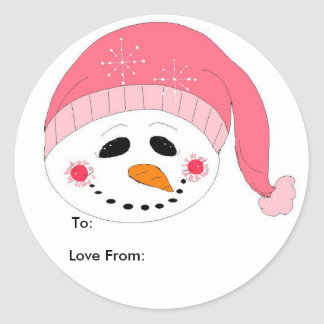 Pink Smiley Snowman Classic Round Sticker