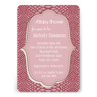 Pink Snake Print Baby Shower Personalized Announcement