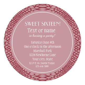 Pink Snake Print Sweet Sixteen Announcements
