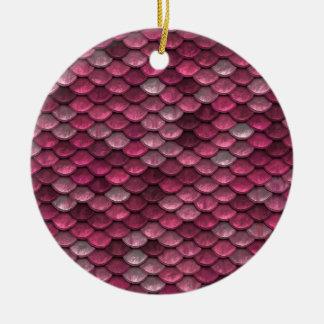 Pink Snakeskin Background Round Ceramic Ornament