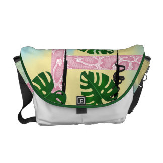 Pink Snakeskin Tropical Leaves Courier Bag